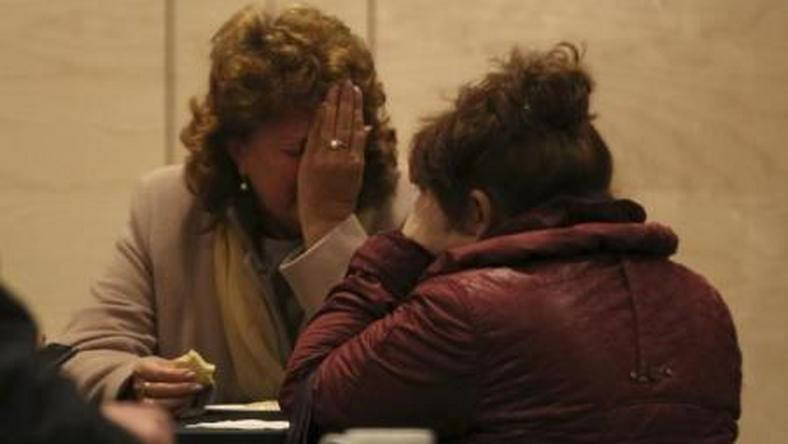 "Relatives of victims of a Russian airliner which crashed in Egypt, mourn at a hotel near Pulkovo airport in St. Petersburg, Russia, October 31, 2015. The Airbus A321, operated by Russian airline Kogalymavia under the brand name Metrojet, carrying 224 passengers and crew crashed in Egypt""s Sinai peninsula on Saturday after losing radar contact and plummeting from its cruising altitude, killing all aboard."