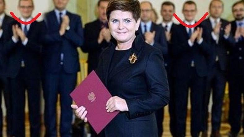 """Beata Szydło i """"sklonowany"""" Paweł Szefernaker - przerobione zdjęcie Jacka Turczyka z PAP"""