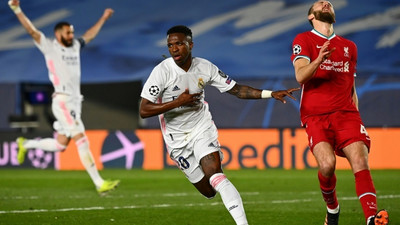 Vinicius double puts Real Madrid on top against Liverpool