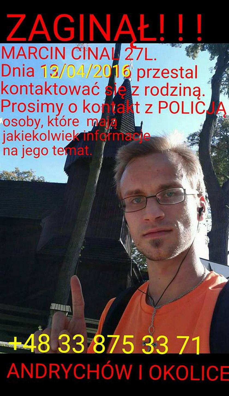 Zaginął Marcin Cinal z gminy Wieprz