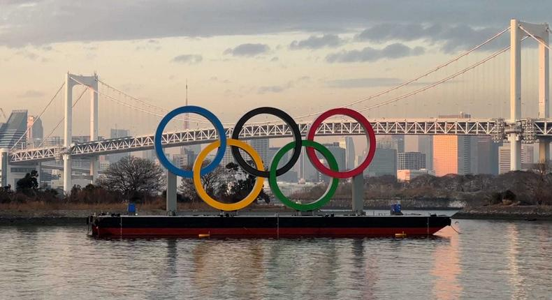 The Olympic rings in Tokyo Bay.