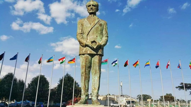 The statue of former Ethiopian Emperor, Haile Selassie at the AU headquarters.