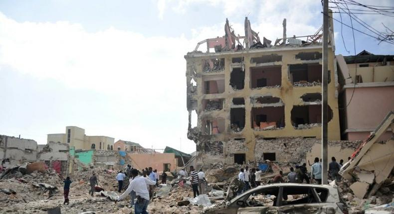 Shabaab militants were driven out of Mogadishu in 2011 but continue to launch terror attacks inside the Somali capital -- such as this raid on a hotel which killed 28 people in January 2017