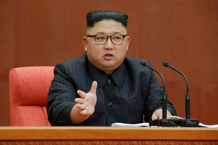 FILE PHOTO: KCNA picture of North Korean leader Kim Jong Un speaking during the Second Plenum of the