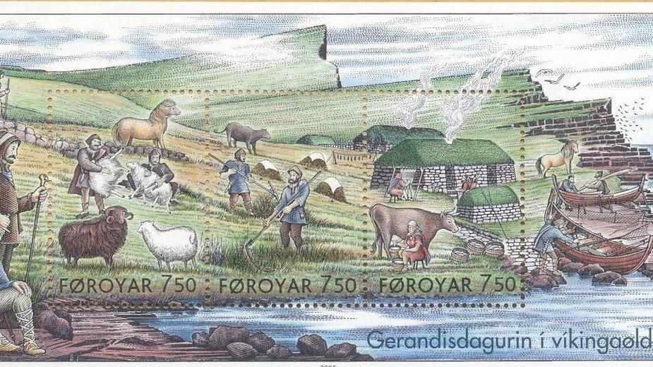 Życie codzienne w wikińskiej osadzie przedstawione na farerskim znaczku (autor - Martin Mörck, domena publiczna)