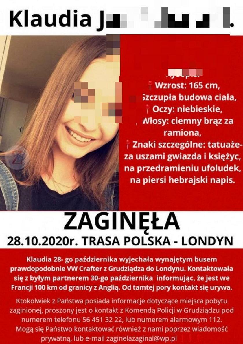 Klaudia wracała do Polski. Auto znaleziono we Francji, ona sama zniknęła...