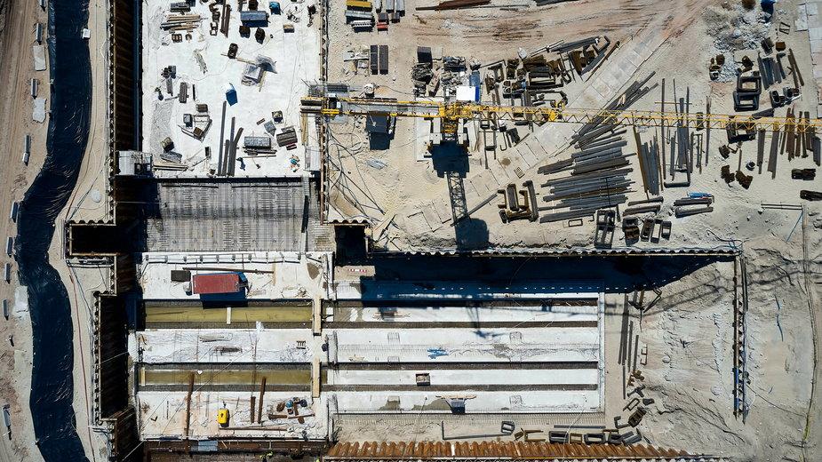 Teren budowy kanału żeglugowego na Mierzei Wiślanej w miejscowości Skowronki
