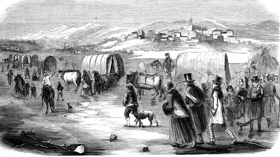 Mormoni podczas wędrówki z Illinois do Utah, 1846 r.