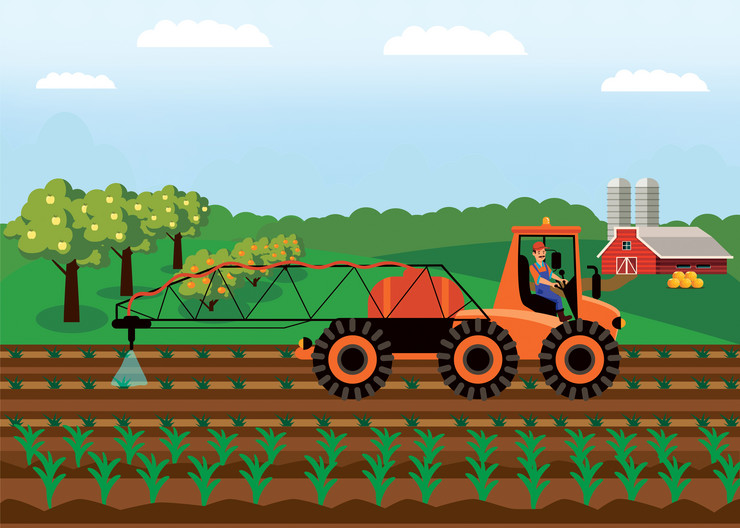 stock-vector-tractor-watering-soil-field-vector-illustration-farming-machinery-fertilizing-plants-flat-drawing-1316921573
