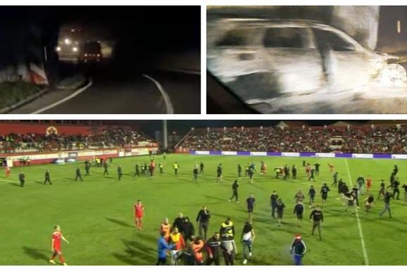 PREPAD U TUNELU, palicama razbili staklo i zapalili automobil! Surovo nasilje u BiH posle velikog skandala i prekinutog derbija, čudo da niko od sudija nije teže povređen!