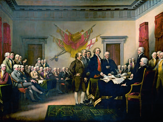 An 1819 depiction of the presentation of the Declaration of Indepence to Congress in 1776
