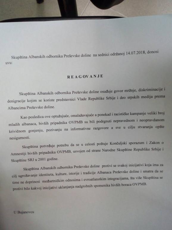 Zahtevi Albanaca sa juga Srbije