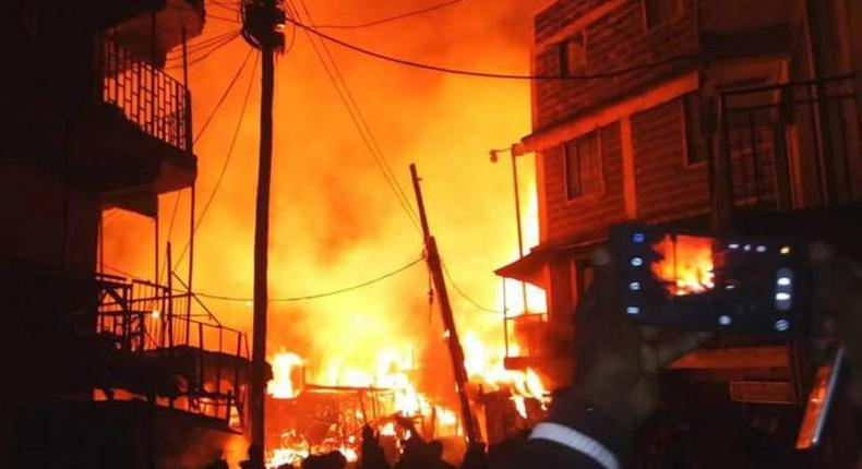 Millions go up in smoke as fire ravages through popular market (Video)