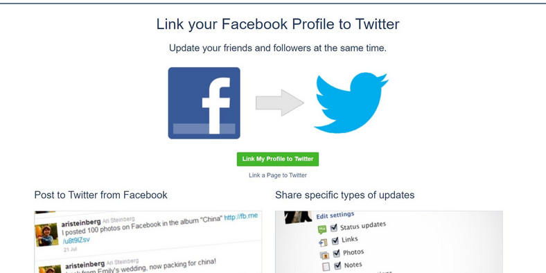 how to link facebook to twitter 1