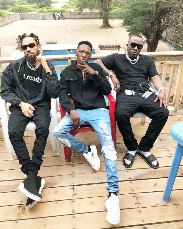L-R: Phyno, Yung Willis and Ice Prince during the video shoot for Ice Prince's 'Feel Good.' (Instagram/Officialyngwillis)