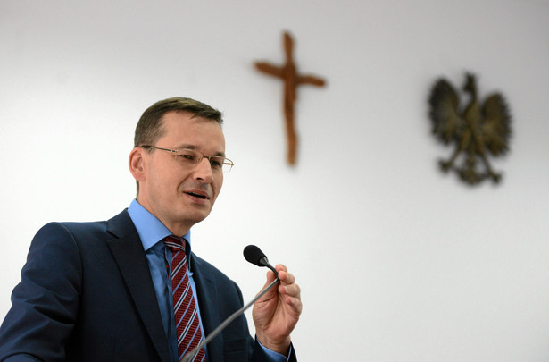 Wicepremier Mateusz Morawiecki podczas spotkania z sympatykami w Kujawsko-Pomorskiej Szkole Wyzszej w Bydgoszczy