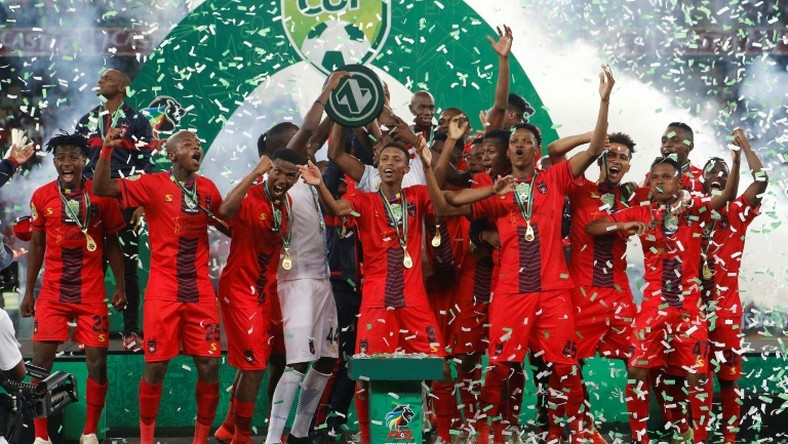 Second division club TS Galaxy celebrate a shock victory over Kaizer Chiefs in the 2019 South African Cup final