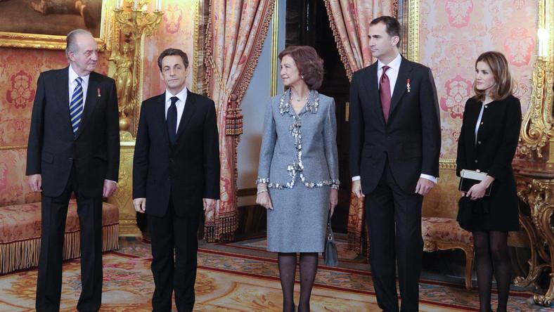 Hiszpańska rodzina królewska i prezydent Nicolas Sarkozy
