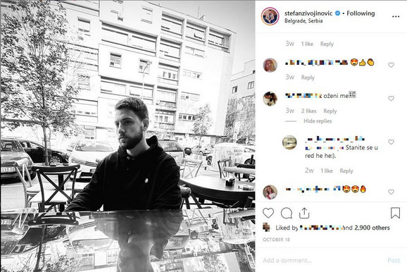Stefan Živojinović Instagram printscreen