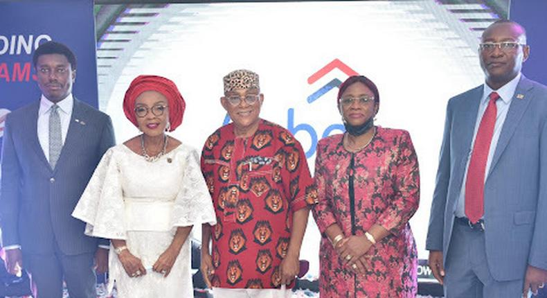 L-R Nonso Okpala, GMD VFD Group Plc; Mrs. Rose Okwechime, Founder Abbey Mortgage Bank; Mazi Ivi Kanu, Chairman Abbey Mortgage Bank; Engr. Aramide Adeyoye, SA for Works & Infrastructure, Lagos State; Madu Hamman, MD/CEO Abbey Mortgage Bank.