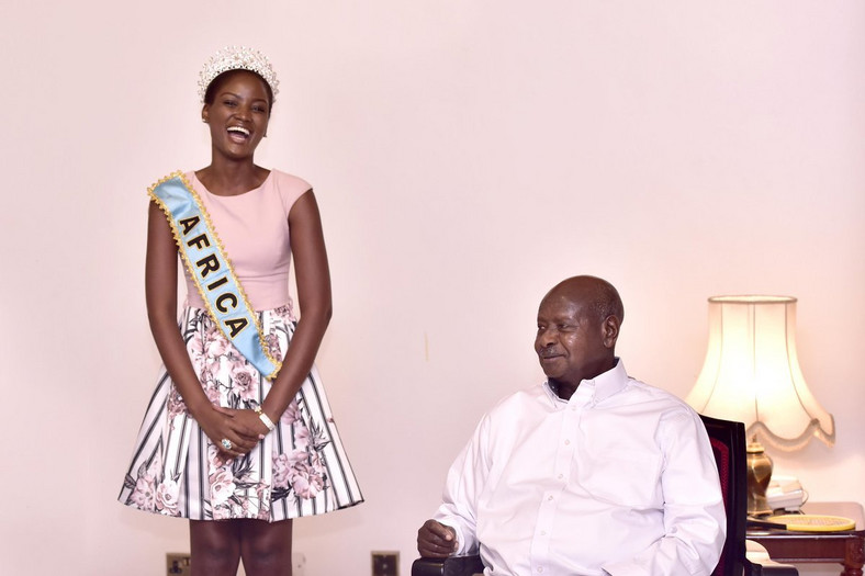 Miss Uganda and President Museveni at Rwakitura