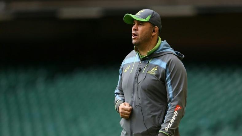 Australia coach Michael Cheika oversees training in Cardiff on November 4, 2016
