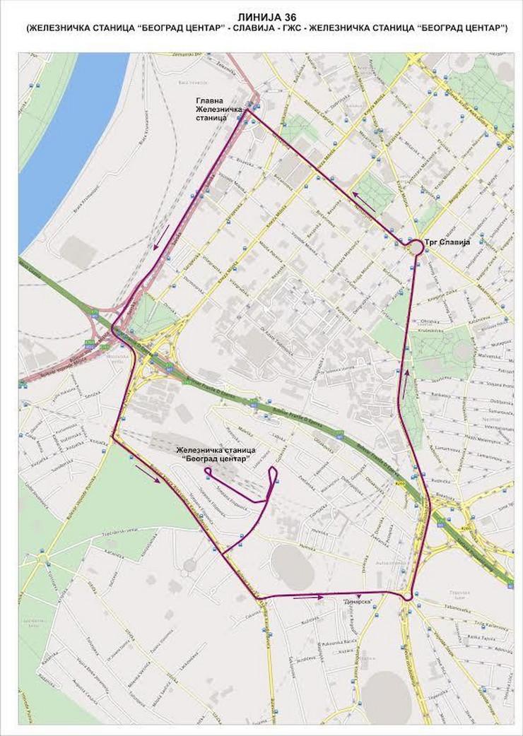 prokop mapa Linija 36 startuje SUTRA, a ovo su RED VOŽNJE i MAPA prokop mapa
