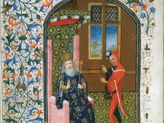 Ms Gen 288 f.156v King and jester, c.1460 (vellum)