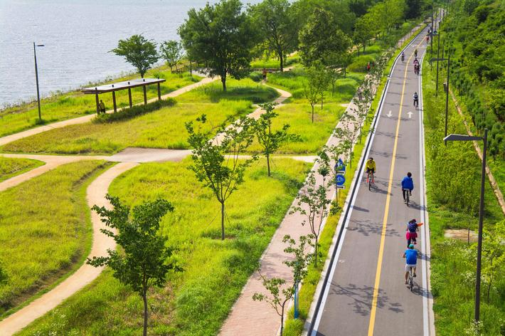 cycling on riverside park