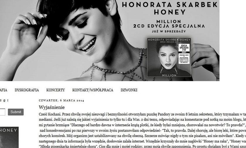 Honorata Skarbek o chorobie.