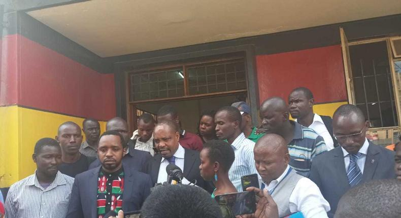 Activist Boniface Mwangi at the Central Police Station after being released