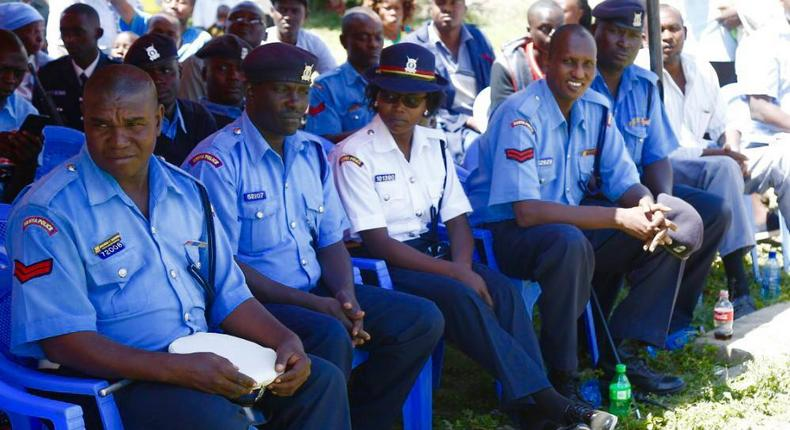 Police Officers at Kayole Police Station during 2018 Christmas celebrations officiated by Interior CS Fred Matiang'i and IG Joseph Boinnet (Twitter)