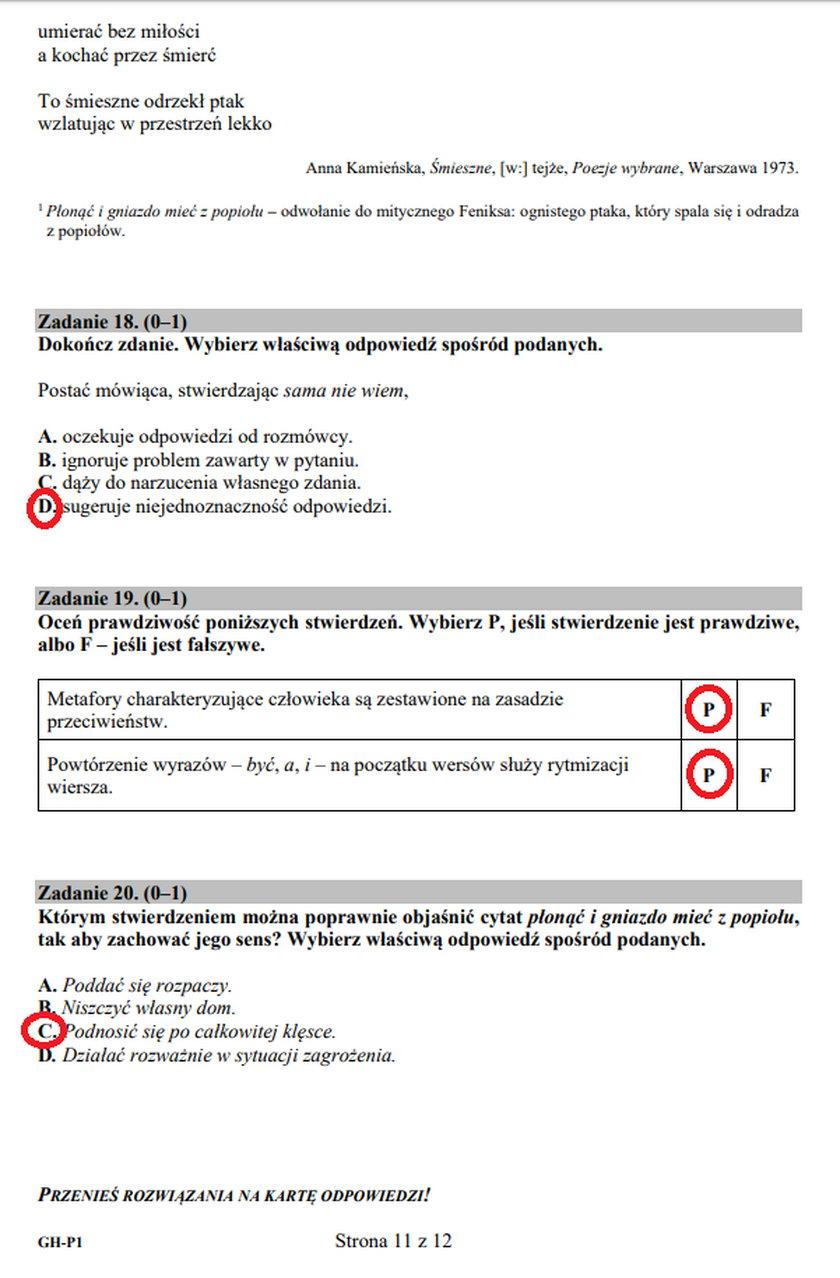 Egzamin gimnazjalny. Język polski. Zadania 18-20