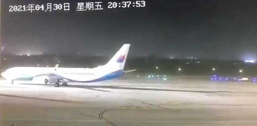 Silny wiatr osiągający 162 km/h obraca samolot [WIDEO]