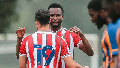 Mikel Obi scores for his new club Stoke City in a pre-season friendly game