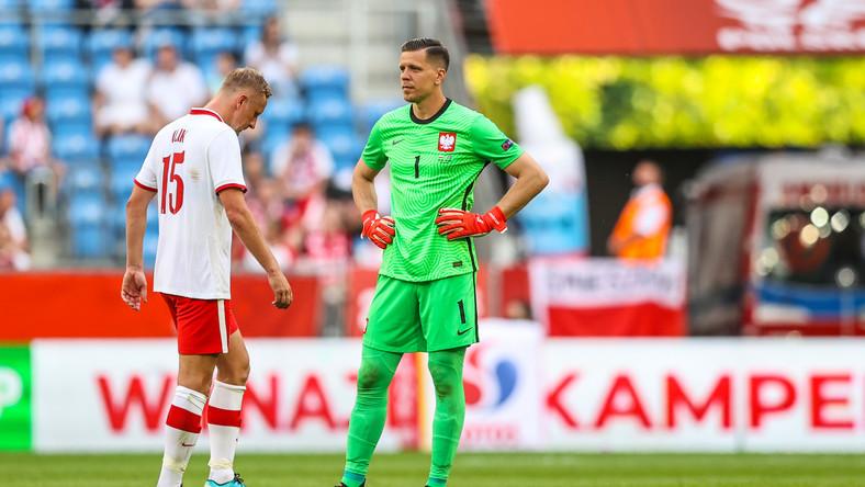 Kamil Glik i Wojciech Szczęsny w trakcie meczu z Islandią w Poznaniu