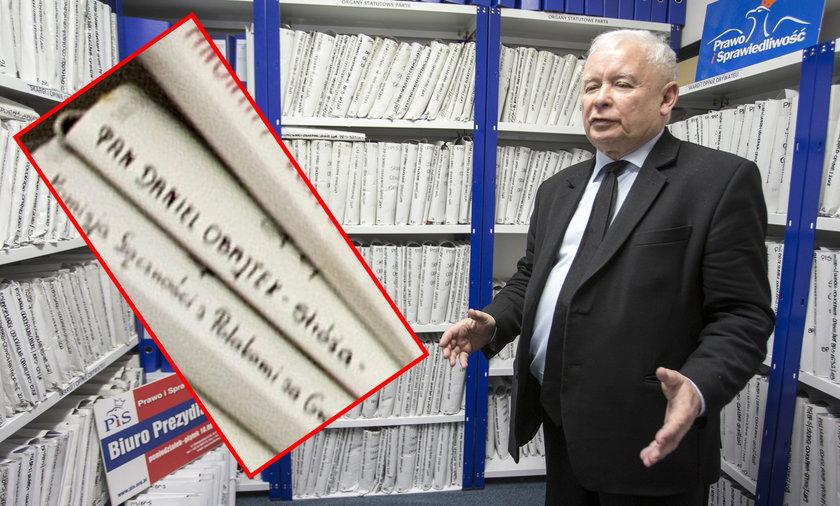 Teczki Jarosława Kaczyńskiego. W archiwum ma teczkę z nazwiskiem Daniela Obajtka