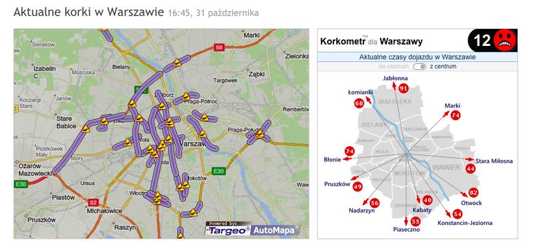 Korki w środę 31 października w Warszawie - tuż przed dniem Wszystkich Świętych