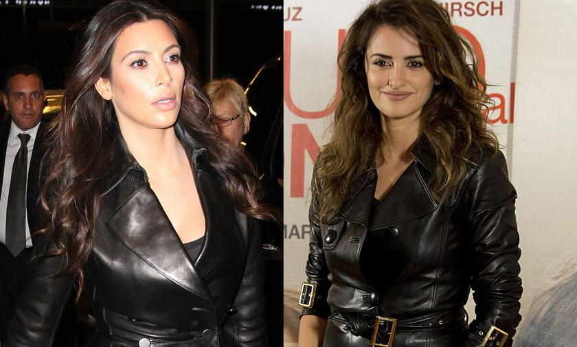 Kim Kardashian i Penelope Cruz w skórzanym płaszczu