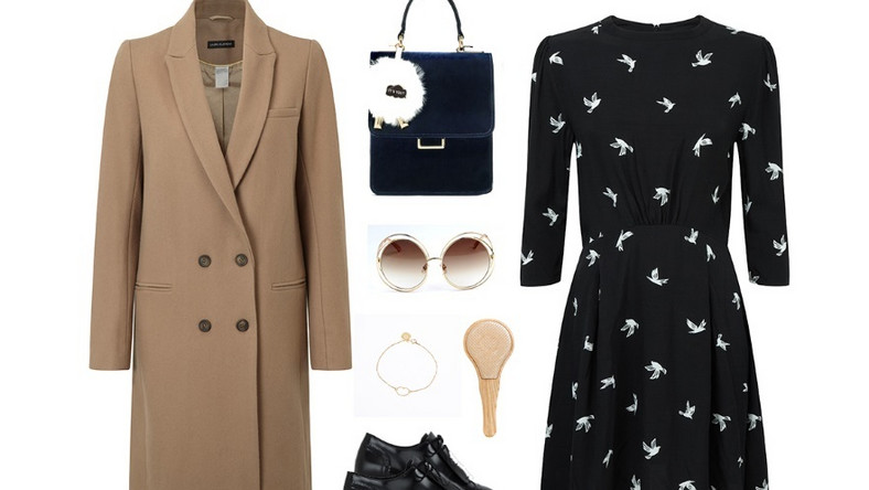 Wełniany płaszcz w kolorze beżowym, ecru lub w odcieniach brązu to świetny wybór nie tylko na jesienne, ale też zimowe dni. Klasyczna forma płaszcza będzie idealnie współgrała z retro dodatkami. Dla urozmaicenia stylizacji warto też postawić na monochromatyczne wzory.