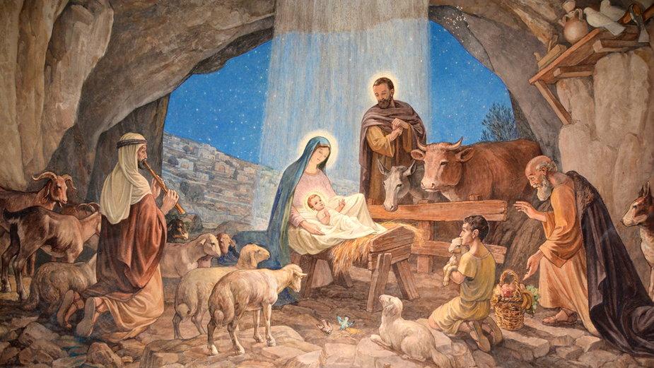 Fresk przedstawiający narodzenie Jezusa, Kaplica na Polu Pasterzy koło Betlejem