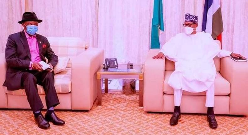 President Muhammadu Buhari meets with Governor, Willie Obiano of Anambra state. [Presidency]