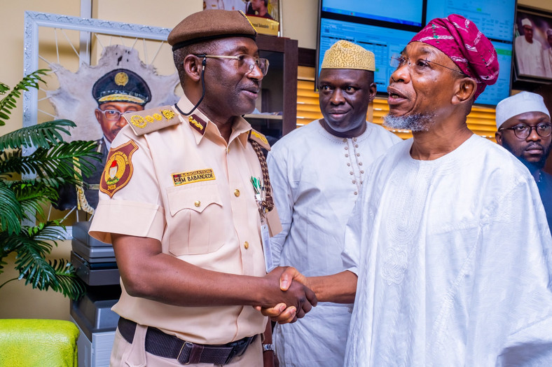 Minister of Interior, Rauf Aregbesola (Right) with NIS boss Babandede shortly after he was inaugurated minister in August 2019 (Interior minister)