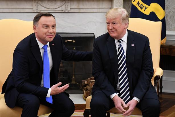 Prezydent Stanów Zjednoczonych Ameryki Donald Trump oraz prezydent RP Andrzej Duda podczas spotkania w Białym Domu