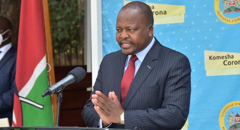 Health CS Mutahi Kagwe during a presser on March 17, 2021