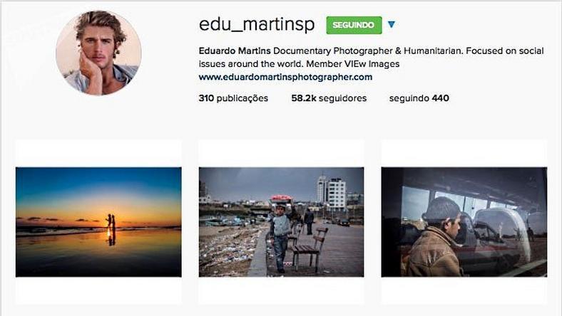 Zrzut ekranu z konta Eduardo Martinsa, które zostało skasowane