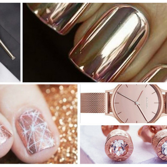 Metaliczne Paznokcie W Kolorze Różowego Złota Manicure Faworyt Na