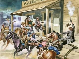 Bank robbery taking place in the Wild West.