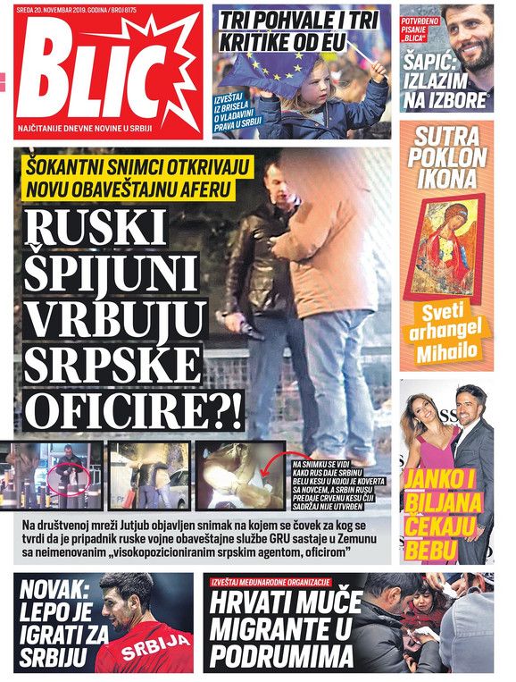Današnja naslovna strana