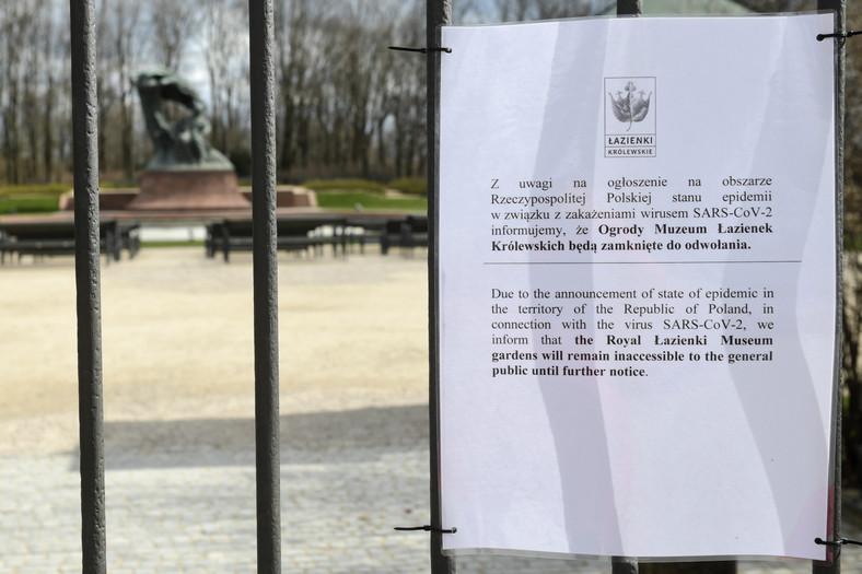 Zamknięte Łazienki Królewskie